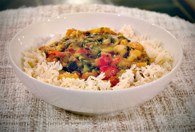 Chicken and Capsicum Royal Stew served on steamed rice